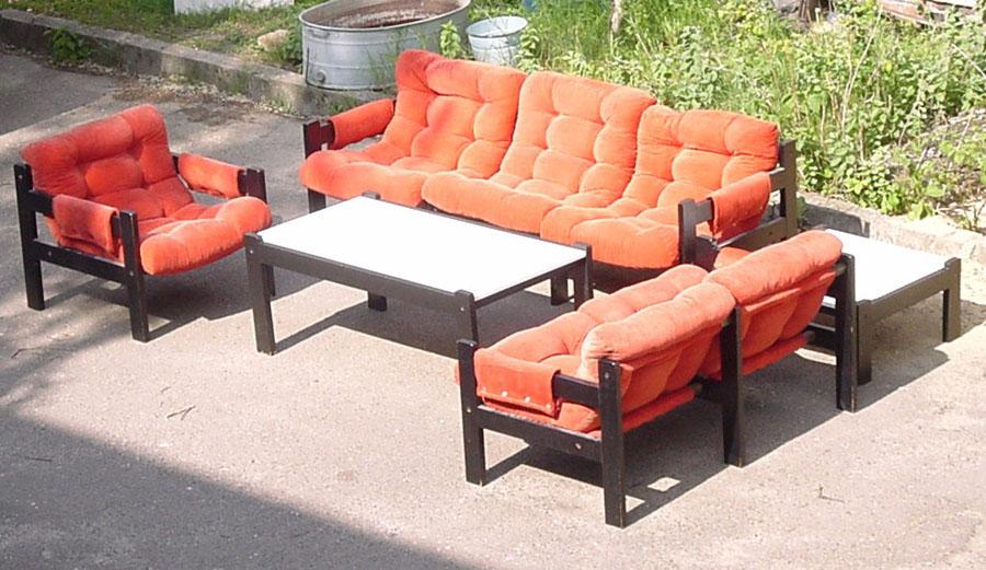 Sofa Garnitur 3 2 1 2 Tische Holz Cord 70er Design Ebay