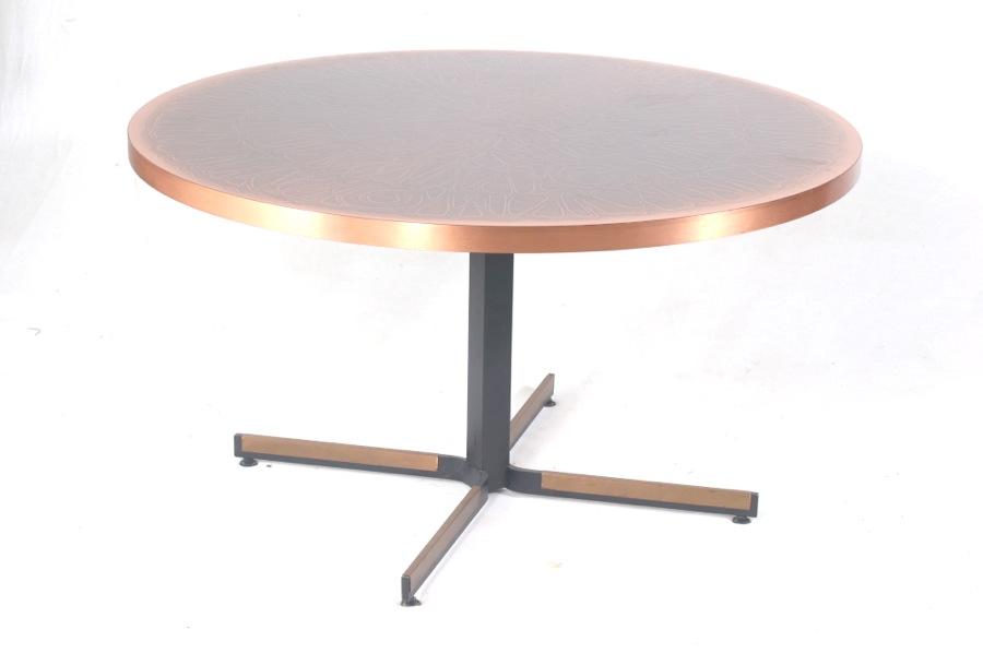 50er 60er design tisch mit ge tzter kupferplatte ilse for Tisch 50er design